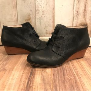 Elk Black Leather Lace Up Wedge Booties